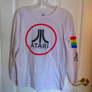 Atari Long Sleeve White Tee SMALL Retro Gaming